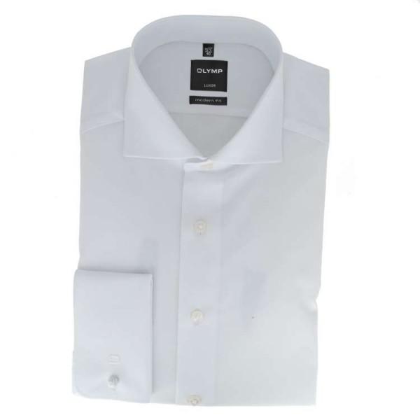 Olymp Luxor modern fit Hemd weiß mit Hai Kragen in moderner Schnittform