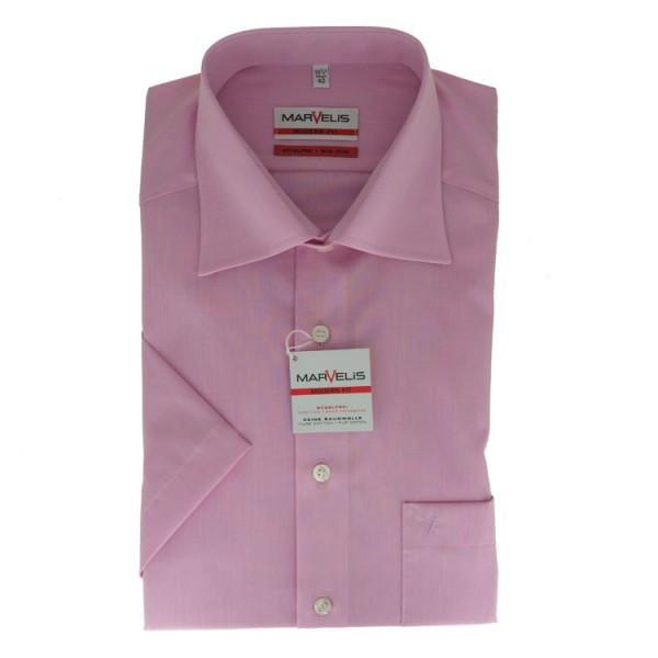 Marvelis MODERN FIT Hemd CHAMBRAY rosa mit New Kent Kragen in moderner Schnittform