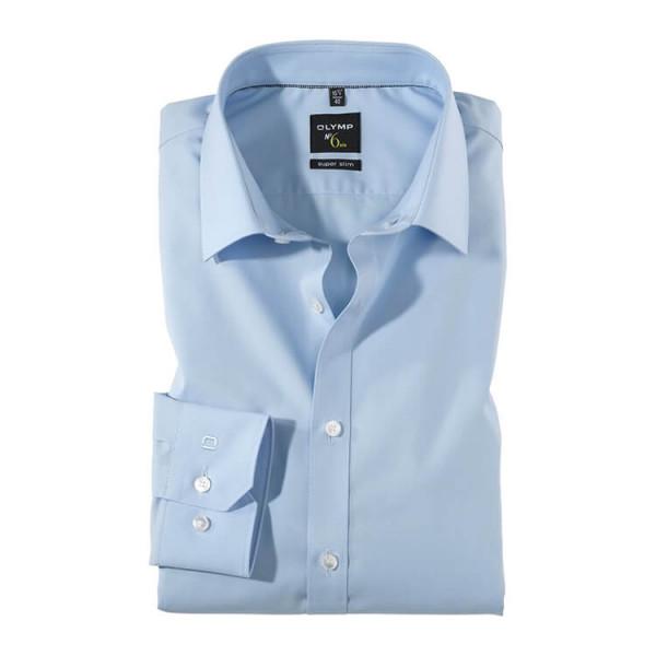 OLYMP No. Six super slim Hemd UNI POPELINE hellblau mit Urban Kent Kragen in super schmaler Schnittform