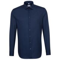 Seidensticker SLIM FIT Hemd UNI POPELINE dunkelblau mit Business Kent Kragen in schmaler Schnittform