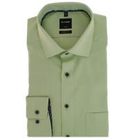 OLYMP Luxor modern fit Hemd STRUKTUR grün mit Global Kent Kragen in moderner Schnittform
