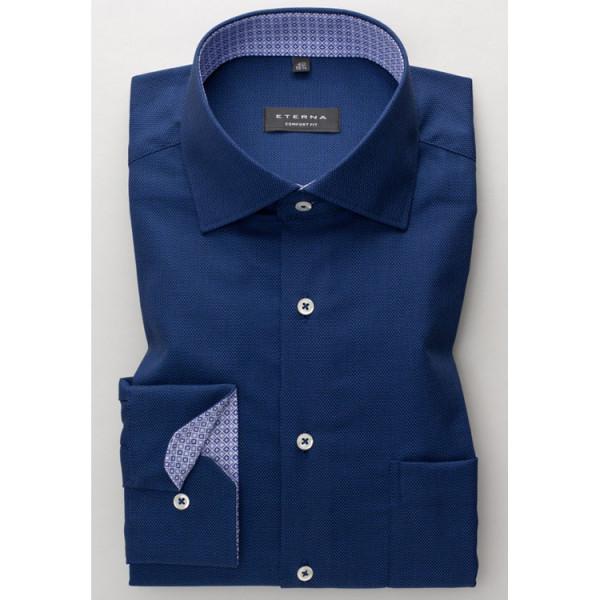 Eterna Hemd COMFORT FIT STRUKTUR dunkelblau mit Classic Kent Kragen in klassischer Schnittform