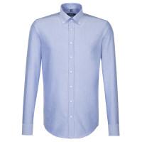 Seidensticker Hemd SHAPED FEIN OXFORD hellblau mit Button Down Kragen in moderner Schnittform