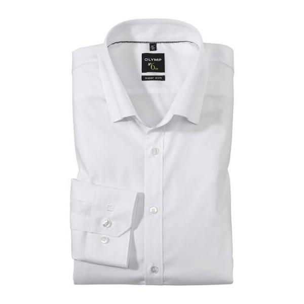 OLYMP No. Six super slim Hemd UNI POPELINE weiss mit Under Button Down Kragen in super schmaler Schnittform