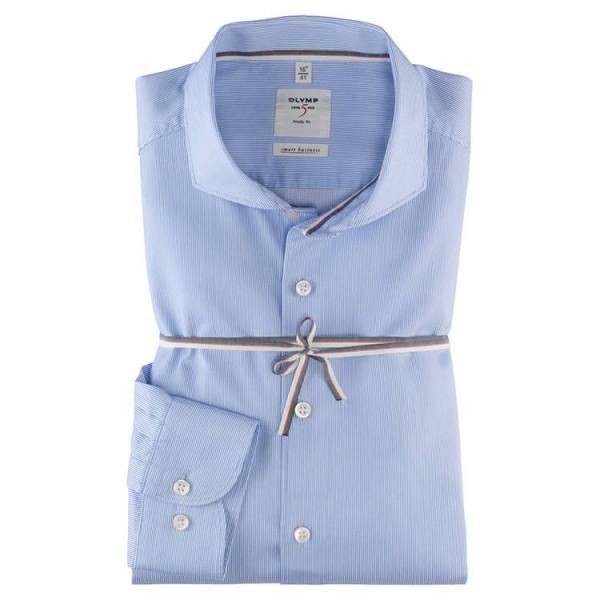 OLYMP Level Five Smart Business body fit Hemd UNI POPELINE hellblau mit Hai Kragen in schmaler Schnittform