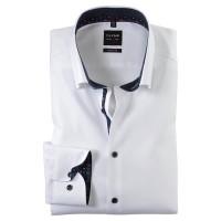 OLYMP Level Five body fit Hemd TWILL weiss mit Under Button Down Kragen in schmaler Schnittform