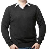 Olymp Pullover in anthrazit mit V-Ausschnitt