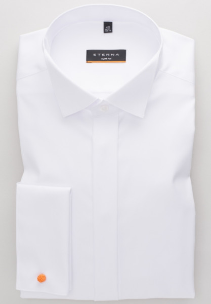 Eterna Hemd SLIM FIT TWILL weiss mit Kläppchen Kragen in schmaler Schnittform