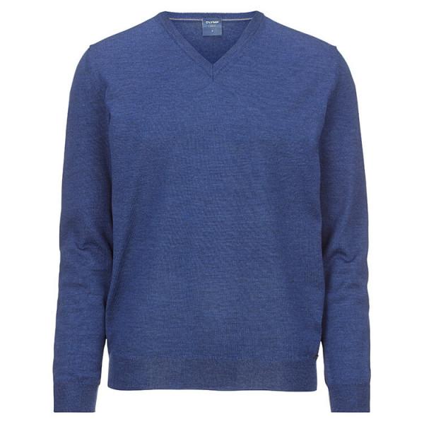 OLYMP Strick modern fit Pullover mittelblau in moderner Schnittform