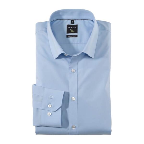 OLYMP No. Six super slim Hemd UNI POPELINE hellblau mit Under Button Down Kragen in super schmaler Schnittform