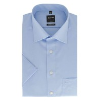 OLYMP Luxor modern fit Hemd UNI POPELINE hellblau mit New Kent Kragen in moderner Schnittform