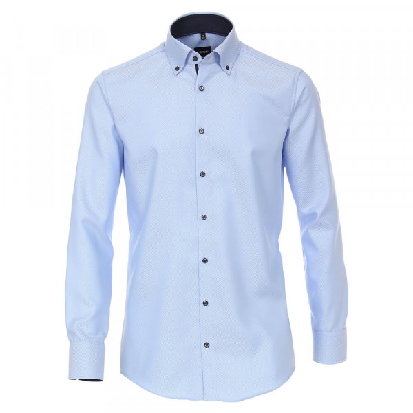 Venti Hemd MODERN FIT STRUKTUR mittelblau mit Button Down Kragen in moderner Schnittform