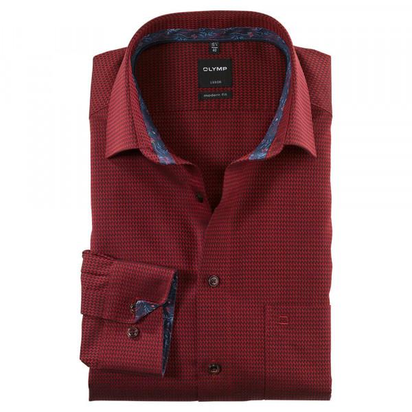 OLYMP Luxor modern fit Hemd STRUKTUR dunkelrot mit New Kent Kragen in moderner Schnittform