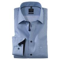 OLYMP Luxor modern fit Hemd PRINT hellblau mit New Kent Kragen in moderner Schnittform