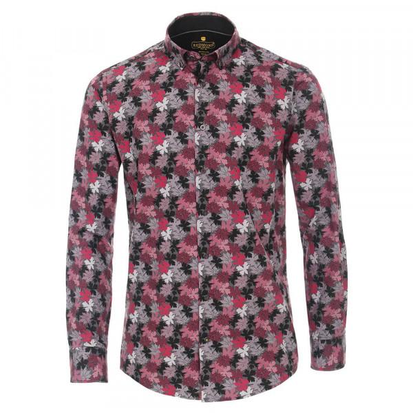 Redmond MODERN FIT Hemd PRINT rot mit Button Down Kragen in moderner Schnittform