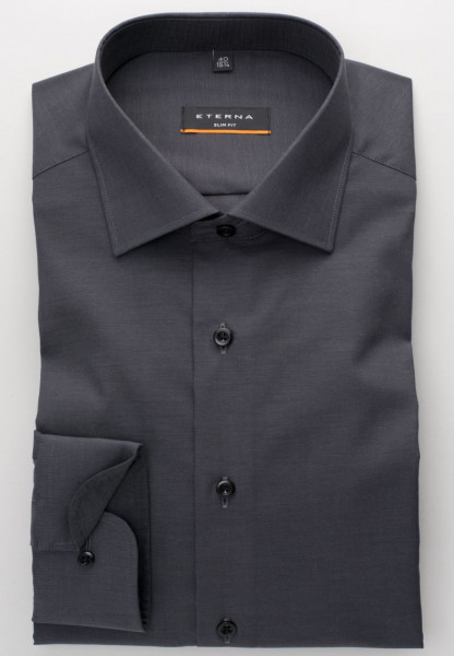 Eterna Hemd SLIM FIT UNI STRETCH anthrazit mit Classic Kent Kragen in schmaler Schnittform