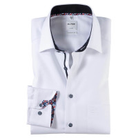 OLYMP Luxor comfort fit Hemd STRUKTUR weiss mit New Kent Kragen in klassischer Schnittform