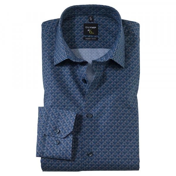 OLYMP No. Six super slim Hemd PRINT mittelblau mit Urban Ken Kragen in super schmaler Schnittform