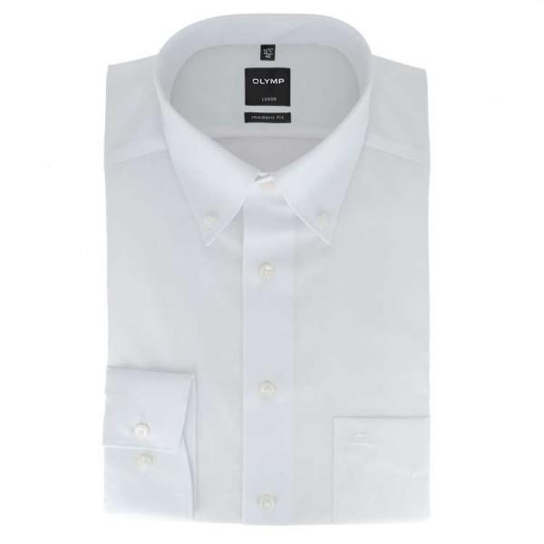 OLYMP Luxor modern fit Hemd UNI POPELINE weiss mit Button Down Kragen in moderner Schnittform