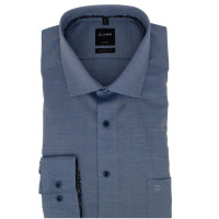 OLYMP Luxor modern fit Hemd STRUKTUR dunkelblau mit Global Kent Kragen in moderner Schnittform