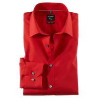OLYMP No. Six super slim Hemd UNI POPELINE rot mit Urban Kent Kragen in super schmaler Schnittform