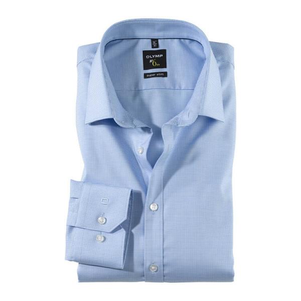 OLYMP No. Six super slim Hemd FAUX UNI hellblau mit Urban Kent Kragen in super schmaler Schnittform