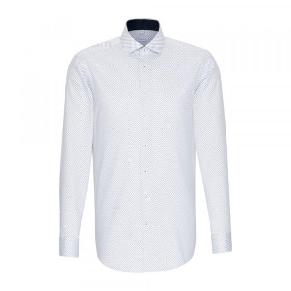 Seidensticker Hemd REGULAR PRINT weiss mit Spread Kent Kragen in moderner Schnittform