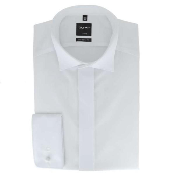 OLYMP Luxor soirée modern fit Hemd UNI POPELINE weiss mit Kläppchen Kragen in moderner Schnittform