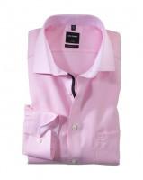 OLYMP Luxor modern fit Hemd FAUX UNI rosa mit Global Kent Kragen in moderner Schnittform