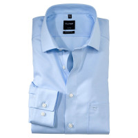 OLYMP Luxor modern fit Hemd TWILL hellblau mit Global Kent Kragen in moderner Schnittform