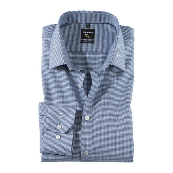 OLYMP No. Six super slim Hemd FAUX UNI dunkelblau mit Urban Kent Kragen in super schmaler Schnittform