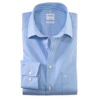 OLYMP Luxor comfort fit Hemd TWILL STREIFEN hellblau mit New Kent Kragen in klassischer Schnittform