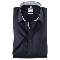 OLYMP Luxor comfort fit Hemd UNI POPELINE dunkelblau mit New Kent Kragen in klassischer Schnittform