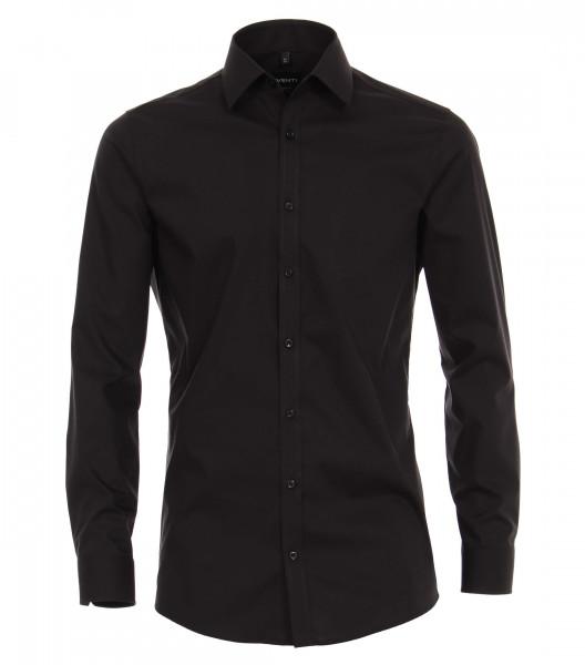 Venti Hemd BODY FIT UNI POPELINE schwarz mit Kent Kragen in schmaler Schnittform