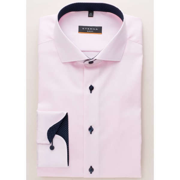 Eterna Hemd SLIM FIT FEIN OXFORD rosa mit Hai Kragen in schmaler Schnittform