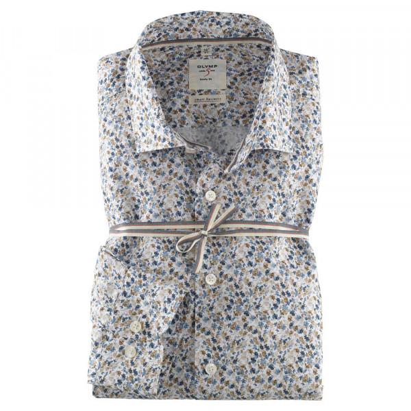 OLYMP Level Five Smart Business body fit Hemd PRINT beige mit Kent Kragen in schmaler Schnittform