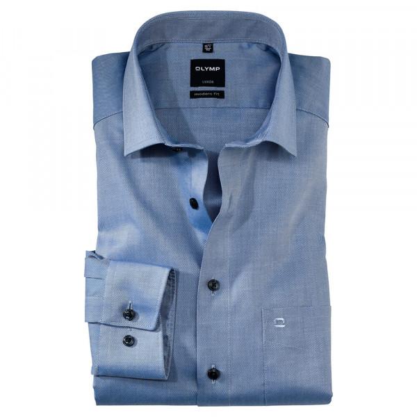 OLYMP Luxor modern fit Hemd TWILL mittelblau mit Global Kent Kragen in moderner Schnittform