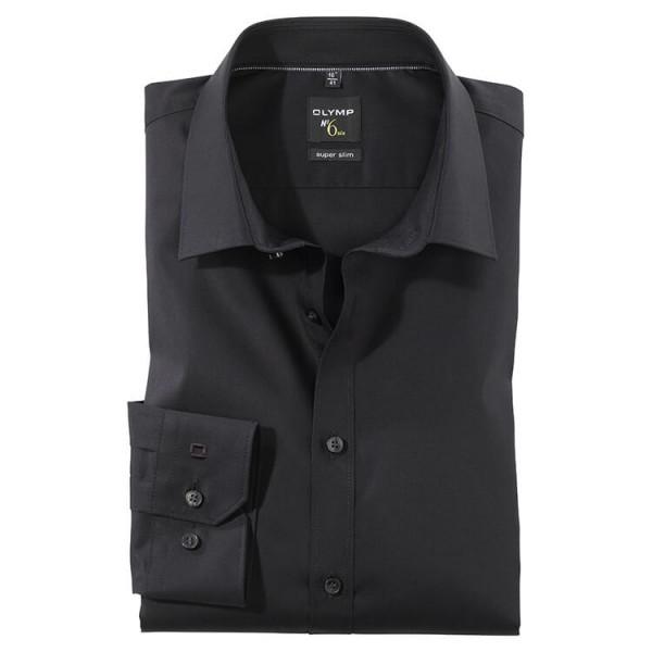 OLYMP No. Six super slim Hemd UNI POPELINE schwarz mit Urban Kent Kragen in super schmaler Schnittform