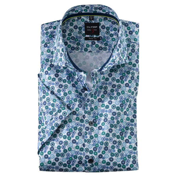 OLYMP Level Five body fit Hemd PRINT grün mit Royal Kent Kragen in schmaler Schnittform