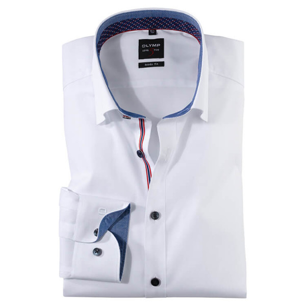 OLYMP Level Five body fit Hemd UNI POPELINE weiss mit Under Button Down Kragen in schmaler Schnittform