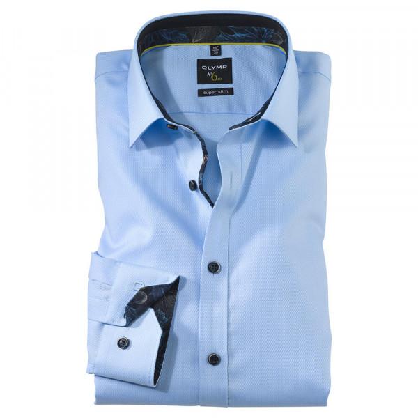 OLYMP No. Six super slim Hemd STRUKTUR hellblau mit Urban Ken Kragen in super schmaler Schnittform