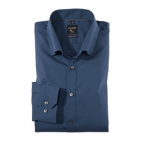 OLYMP No. Six super slim Hemd UNI POPELINE blau mit Under Button Down Kragen in super schmaler Schnittform