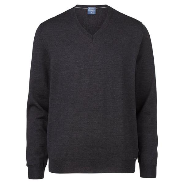 OLYMP Strick modern fit Pullover anthrazit in moderner Schnittform