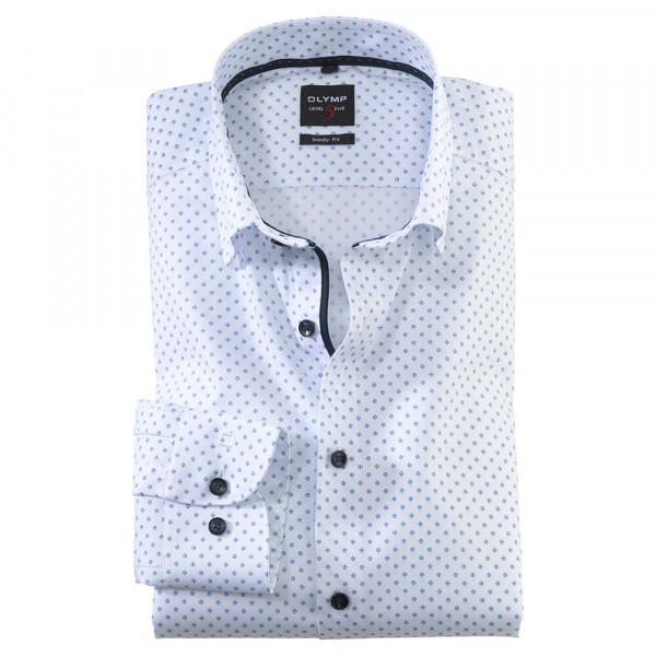 OLYMP Level Five body fit Hemd PRINT weiss mit Under Button Down Kragen in schmaler Schnittform