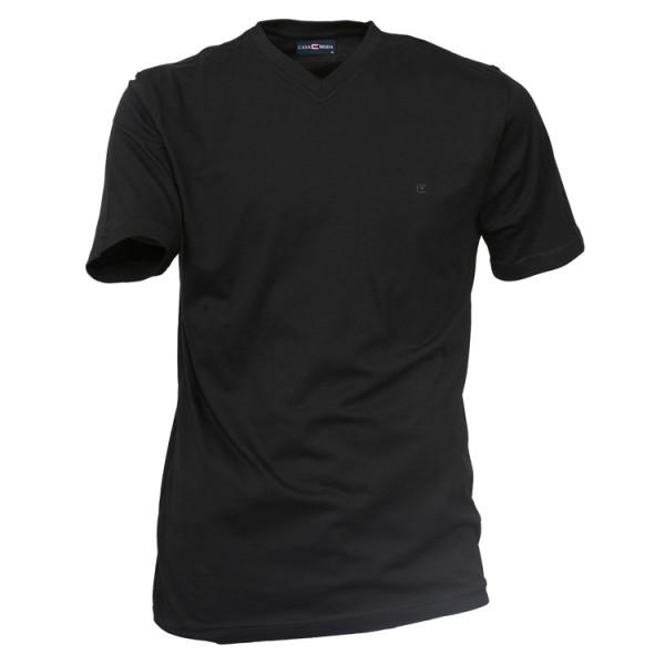 CASAMODA T-Shirt in schwarz mit V-Ausschnitt im Doppelpack
