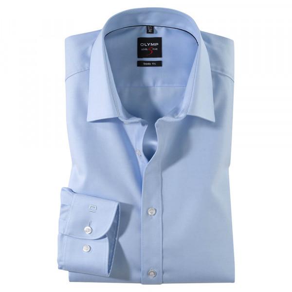 OLYMP Level Five body fit Hemd TWILL hellblau mit New York Kent Kragen in schmaler Schnittform