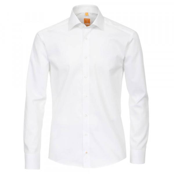 Redmond MODERN FIT Hemd UNI POPELINE weiss mit Kent Kragen in moderner Schnittform