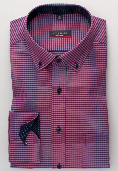 Eterna Hemd MODERN FIT VICHY POPELINE rot mit Button Down Kragen in moderner Schnittform