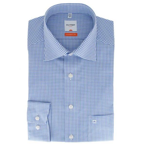 Olymp Luxor modern fit Hemd blau kariert mit New Kent Kragen in moderner Schnittform