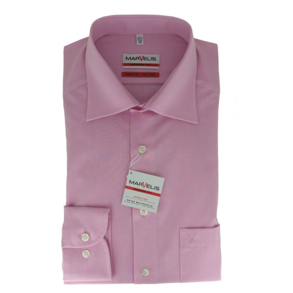Marvelis MODERN FIT Hemd CHAMBRAY rosa mit New Kent Kragen in moderner Schnittform